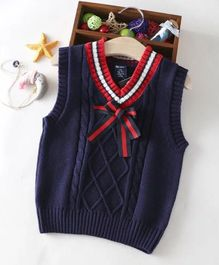 Aww Hunnie Sleeveless Sweater With Bow - Blue