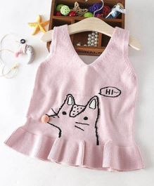 Aww Hunnie Frill Sweater - Pink