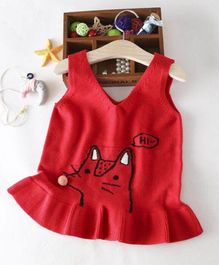 Aww Hunnie Frill Sweater - Red
