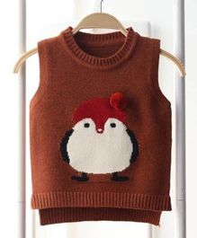 Aww Hunnie Penguin Print Sweater - Brown