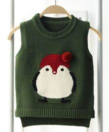Aww Hunnie Penguin Print Sweater - Green