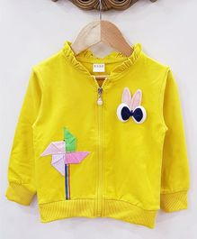 Aww Hunnie Applique Work Jacket - Yellow