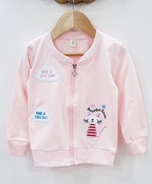 Aww Hunnie Applique Cat Applique Jacket - Light Pink