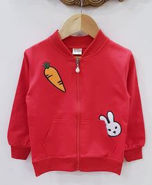 Aww Hunnie Applique Carrot Applique Jacket - Red