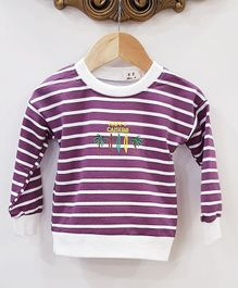 Aww Hunnie Stripes Full Sleeves Sweatshirt - Purple