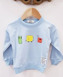 Aww Hunnie Animal Printed Sweatshirt - Blue