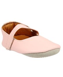Beanz Solid Booties With Velcro Closure - Light Pink