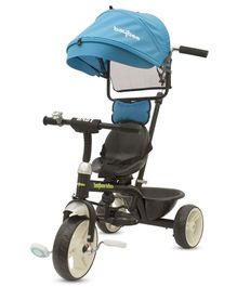 Baybee 3-in 1 Lightweight Convertible Tricycle With Rotating Seat & Sun Cover Canopy - Blue