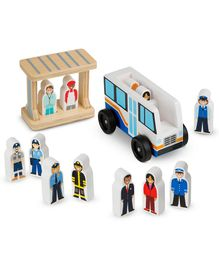 Melissa and Doug Wooden Off to Work Bus Set - Multi Colour