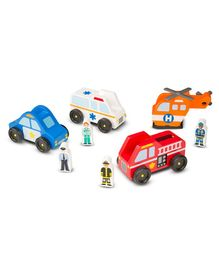 Melissa & Doug Wooden Emergency Vehicle Toy Pack of 4 - Multicolour
