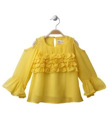 Soul Fairy Cold Shoulder Ruffled Top - Yellow