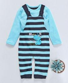 Mom's Love Dungaree Style Romper With Tee Monster Patch - Aqua & Navy Blue