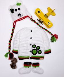 The Original Knit Bear Theme Sweater With Cap & Booties - White