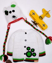 The Original Knit Bear Theme Sweater With Cap - White