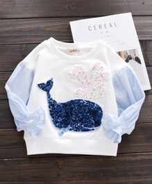 Pre Order - Awabox Whale Applique Top - White