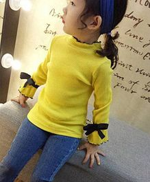 Pre Order - Awabox Solid Top With Bow On Sleeves - Yellow