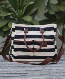 My Gift Booth Striped Diaper Bag - Black & Beige