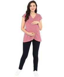 Momsoon Short Sleeves Striped Overlapping Front Nursing Top - Red