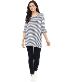Momsoon Three Fourth Sleeves Flare Detail Maternity Top - Navy Blue