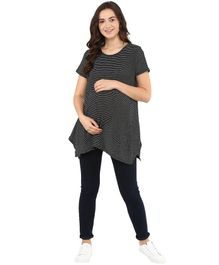 Momsoon Short Sleeves Striped Maternity Top  - Black