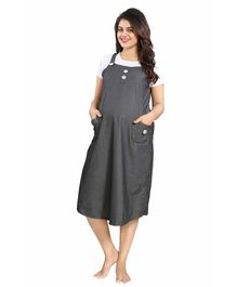 Mamma's Maternity Short Sleeves Cotton Dress - Grey White