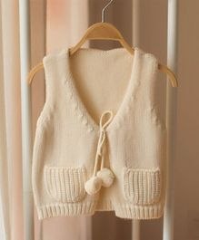 Pre Order - Awabox Sleeveless Warm Sweater - Beige