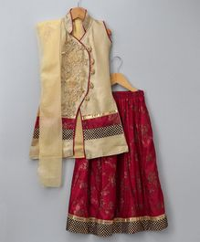 Aarika Self Design Lehenga Kurta With Dupatta Set - Maroon