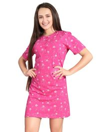 Piu Half Sleeves Maternity Nighty Star Print - Pink