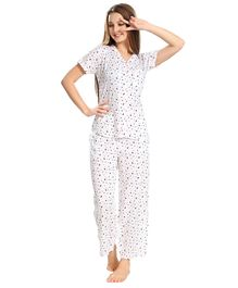 Piu Front Open Moon Print Sleepwear - White