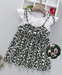 Lekeer Kids Floral Print Cap Sleeves Dress - Green