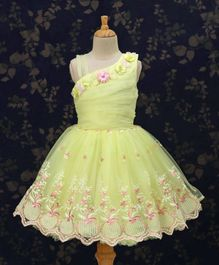 Bluebell Sleeveless Party Wear Frock Floral Embroidered - Light Yellow