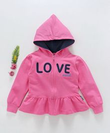 Fido Full Sleeves Hooded Jacket Love Patch - Pink