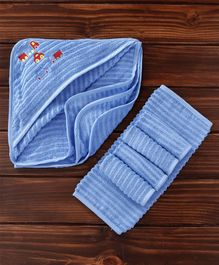 MicroCotton Vehicle Printed Hooded Wrapper With Wash Cloths Pack of 6  - Blue