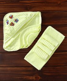 MicroCotton Vehicle Printed Hooded Wrapper With Wash Cloths Pack of 6 - Lemon