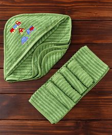 MicroCotton Vehicle Printed Hooded Wrapper With Wash Cloths Pack of 6  - Green