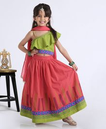 Babyhug One Shoulder Choli WIth Printed Lehenga & Netted Dupatta - Pink Green