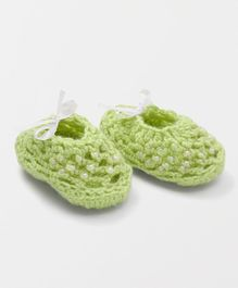 MayRa Knits Ribbon Booties - Green