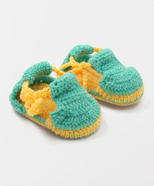 MayRa Knits Sandal Style Booties - Light Green
