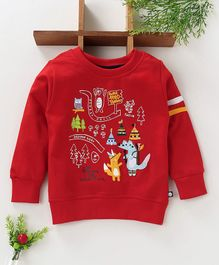 Ollypop Full Sleeves Winter Wear Tee Animal Patch - Red