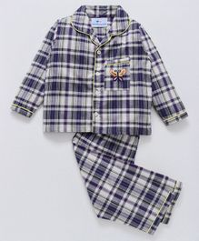 Knitting Doodles Checks Night Suit With Butterfly Embroidery On Pocket - Dark Blue