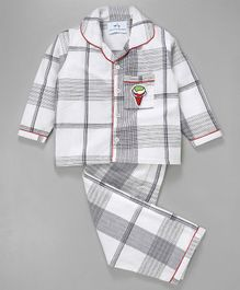 Knitting Doodles Checks Night Suit With Ice Cream Patch On Pocket - Black & White