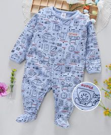 ToffyHouse Footed Full Sleeves Sleepsuit Multi Print - Blue