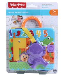 Fisher Price 1 to 5 Soft Activity Book With Monkey Teether - Purple