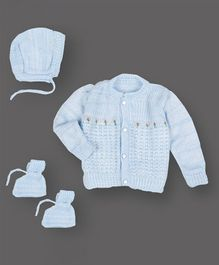 Grandma's Full Sleeves Sweater With Cap & Booties Flower Design- Light Blue