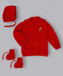 Grandma's Full Sleeves Sweater With Cap & Booties Flower Design - Red