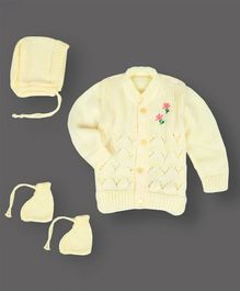 Grandma's Full Sleeves Sweater With Cap & Booties Flower Design - Light Yellow