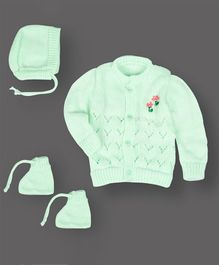 Grandma's Full Sleeves Sweater With Cap & Booties Flower Design - Light Green