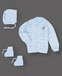 Grandma's Full Sleeves Sweater With Cap & Booties Flower Design - Light Blue