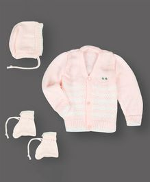 Grandma's Full Sleeves Sweater With Cap & Booties Flower Design - Light Pink