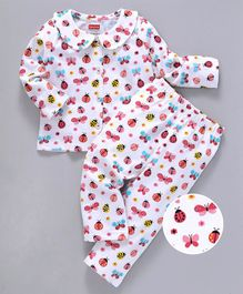 Babyhug Full Sleeves Night Suit Butterfly Print - Pink